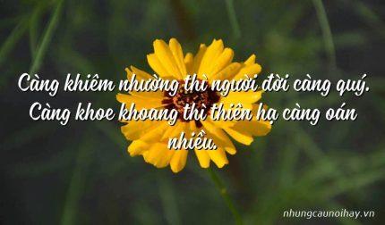 Càng khiêm nhường thì người đời càng quý. Càng khoe khoang thì thiên hạ càng oán nhiều.