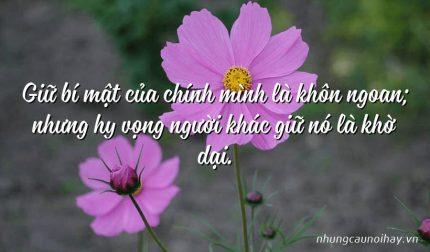Giữ bí mật của chính mình là khôn ngoan; nhưng hy vọng người khác giữ nó là khờ dại.