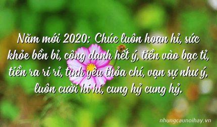 Năm mới 2020: Chúc luôn hoan hỉ, sức khỏe bền bỉ, công danh hết ý, tiền vào bạc tỉ, tiền ra ri rỉ, tình yêu thỏa chí, vạn sự như ý, luôn cười hi hi, cung hỷ cung hỷ.