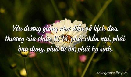 Yêu đương giống như diễn vở kịch đau thương của chúa Ki-tô, phải nhẫn nại, phải bao dung, phải từ bỏ, phải hy sinh.