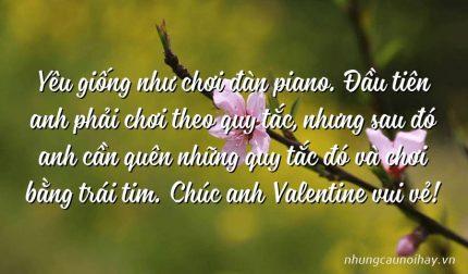 Yêu giống như chơi đàn piano. Đầu tiên anh phải chơi theo quy tắc, nhưng sau đó anh cần quên những quy tắc đó và chơi bằng trái tim. Chúc anh Valentine vui vẻ!