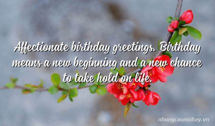 Affectionate birthday greetings. Birthday means a new beginning and a new chance to take hold on life.