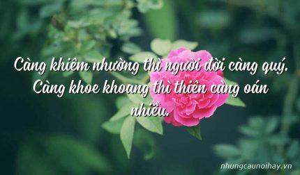 Càng khiêm nhường thì người đời càng quý. Càng khoe khoang thì thiên càng oán nhiều.