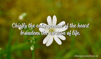 Chiefly the enlargement of the heart broadens the horizon of life.