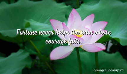 Fortune never helps the man whose courage fails.