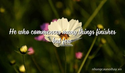 He who commences many things finishes but few