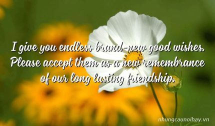 I give you endless brand-new good wishes. Please accept them as a new remembrance of our long lasting friendship.