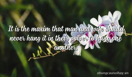 It is the maxim that man and wife should never hang it in their power to hang one another.