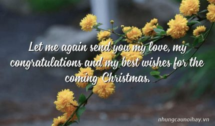 Let me again send you my love, my congratulations and my best wishes for the coming Christmas.