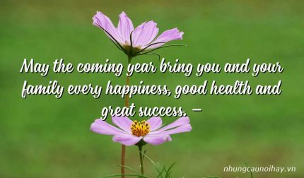 May the coming year bring you and your family every happiness, good health and great success. –