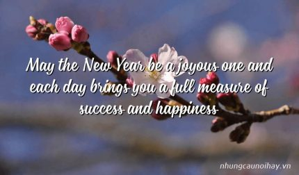 May the New Year be a joyous one and each day brings you a full measure of success and happiness