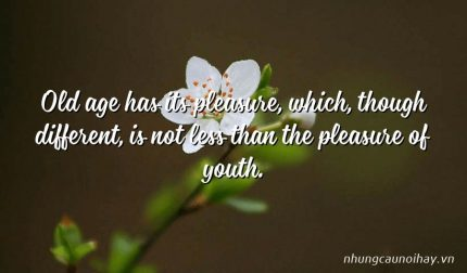Old age has its pleasure, which, though different, is not less than the pleasure of youth.
