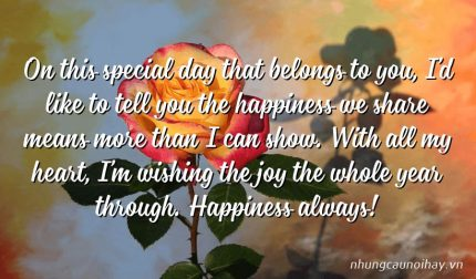 On this special day that belongs to you, I'd like to tell you the happiness we share means more than I can show. With all my heart, I'm wishing the joy the whole year through. Happiness always!
