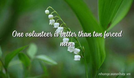 One volunteer is better than ton forced men.