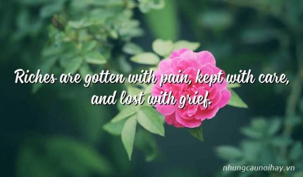 Riches are gotten with pain, kept with care, and lost with grief.