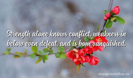 Strength alone knows conflict, weakness in below even defeat, and is bom vanquished.