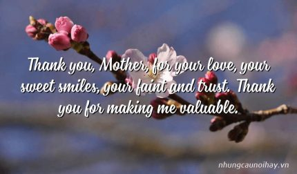 Thank you, Mother, for your love, your sweet smiles, your faint and trust. Thank you for making me valuable.