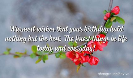 Warmest wishes that your birthday hold nothing but the best. The finest things in life today and everyday!