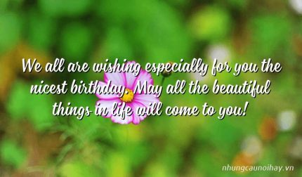 We all are wishing especially for you the nicest birthday. May all the beautiful things in life will come to you!