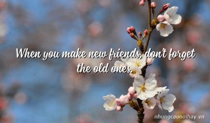 When you make new friends, don't forget the old ones.