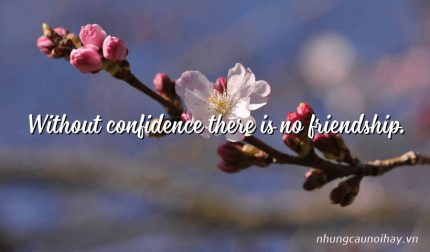 Without confidence there is no friendship.