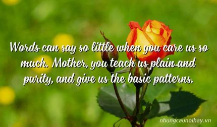 Words can say so little when you care us so much. Mother, you teach us plain and purity, and give us the basic patterns.