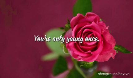 You're only young once.
