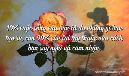 10% cuộc sống của bạn là do những gì bạn tạo ra, còn 90% còn lại tùy thuộc vào cách bạn suy nghĩ và cảm nhận.